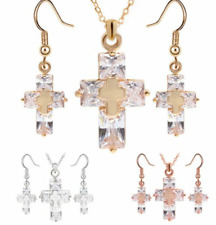 Valentine Gold Silver Plated Cross Pendant Necklace Earring Crystal Gem Set UK