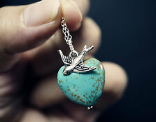 Natural Turquoise Heart Necklace Silver Swallow Bird Necklace