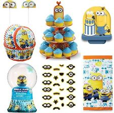 MINIONS DESPICABLE ME PARTY SUPPLY CAKE STAND TREAT BAGS CUPCAKE LINERS NEW