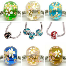 High Quality Fashion Flower Draw DIY Crystal Beads Fit European Charm Bracelet