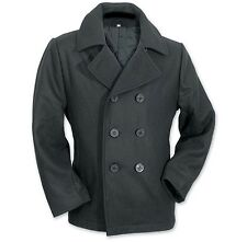 Mens Military Double Breasted Great coat jacket peacoat US NAVY Naval wool