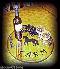 Lazy Susan Tray Horse Wine Tray Custom Wooden Equestrian Personalized Serving