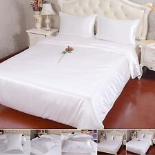 19 Momme 100% Pure Silk Duvet Quilt Cover Sheets Pillow Cases Seamed Ivory