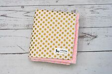 Handmade Personalized Gold Metallic Polka Dot Baby Minky Blanket Nursery Decor