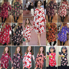 Women Girl Xmas Dress Mother &Daughter Christmas Santa Party Fancy Swing Dresses