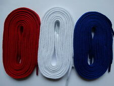 3 Pairs Laces thick flat 105cm Red White Blue  - For canvas trainer converse