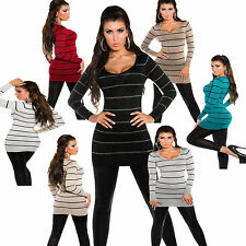 Ladies Long Pullover Shirt Sweater Long Sleeve Dress Stripes Glitter S 34 36
