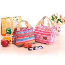 New Picnic Casual Tote Purse Cooler Stripe Portable Lunch Bag Thermal Handbag