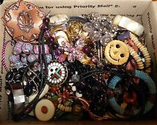 HUGE Box Large LOT VINTAGE & MOD JEWELRY JUNK DRAWER CRAFT PARTS Rhinestones