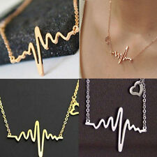 Fashion Lady Gold Silver Heart Beat Pendant Necklace Steel Charm Chain Love Gift