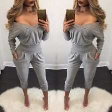 Women Off The Shoulder Romper Long Sleeve Autumn Pant Bandage Jumpsuit Overall