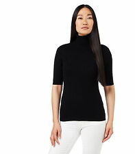 WoolOvers Womens Cashmere Merino Short Sleeve Polo Neck Knitted Sweater Top