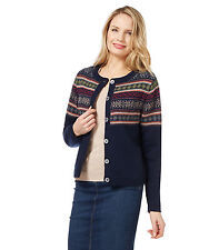 WoolOvers Womens Lambswool Fairisle Long Sleeve Crew Neck Knitted Cardigan Top