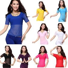 Belly Dance Costume Tops Dancing Tribal Yoga Short Sleeve Crystal Cotton Bra Top