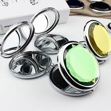 1Pc Mini Stainless Travel Compact Pocket Crystal Folding Makeup Mirror Cute R6V