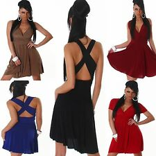 Strap dress Party Cocktail Dress knee length V Neck S 34 36 Sexy Ladies