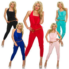 Halter neck Jumpsuit Catsuit Overall with belt Party Club S 32 34 36 Women Pants
