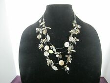 Vintage Chicos Mother of Pearl, beads Silver Tone Multi Strand  (4) Necklace