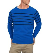 WoolOvers Mens Lambswool Breton Stripe Crew Neck Jumper Sweater Knitted