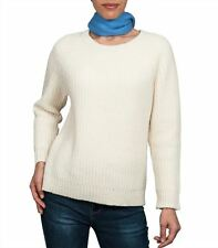 WoolOvers Womens Lambswool Ribbed Boxy Crew Neck Long Sleeve Knitted Jumper