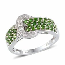 Russian CHROME DIOPSIDE , DIAMOND Buckle RING in Plat / Sterling Silver 1.26 Cts
