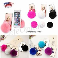 Cute Plush Fur Ball Soft Rubber TPU Case Cover Skin For girly iphone 6/6s case