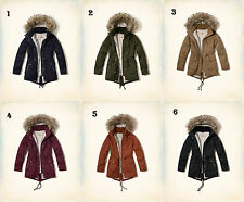 NWT Hollister by Abercrombie&Fitch Women's Heritage Sherpa Lined Parka Fur Coat