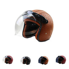 Unique Motorcycle Harley Unique Retro PU Leather Half Helmets +Bubble Visor DOT