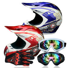 Motocross Off-Road Racing Unique DOT Motorcycle Safe Helmet+Goggles+Gloves UC913
