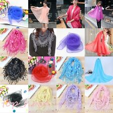 Women Long Neck Wrap Lace Hollow Tassel Scarf Flower Floral Print Triangle Shawl