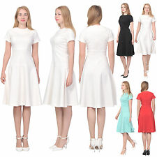 WOMENS ELEGANT CASUAL WORK OFFICE KNEE LENGTH DRESS SHORT SLEEVE FLARED DRESSES