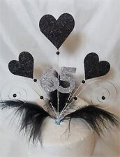 Handmade Glitter Black hearts and feathers cake topper ANY AGE