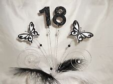Handmade Black and white 3D butterflies, beads/feathers cake topper ANY AGE