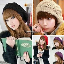 Warm Winter Women Beret Braided Baggy Beanie Crochet Hat Ski Cap Knit Knitted