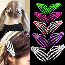 2Pcs Halloween Zombie Skull Skeleton Hand Bone Claw Hairpin Punk Hair Clip