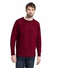 WoolOvers Mens Pure Wool Fishermans Crew Neck Jumper Sweater Christmas Knitted