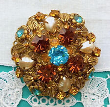W GERMANY Signed Vintage Rhinestone PIN Brooch Aqua Topaz Faux Pearls EVC