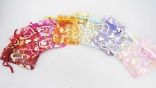 100 pc Gold/Silver Hearts Color Wedding Party Favor Gift Candy Organza Bag Pouch