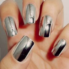 Wraps Decal Decoration 16 Pcs Stickers Foil Silver Nail Art Patch Smooth
