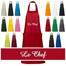 """Valuable embroidered Kitchen apron Cook Apron mit """"Le Chef"""" Cooking Chefcook"""