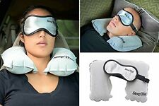 Travel Inflatable Pillow Sleep Eye Mask Set Ear Plugs Airplane Noise Car Train