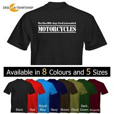 Velocitee Mens T-Shirt On The 8th Day God invented Motorcycles Motorbikes Biker