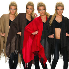 Ladies Poncho Shawl mit Lurex Fringes Cape Pullover warm One Size Fits All 36