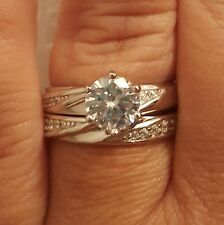 .925 Sterling Silver Wedding Set CZ Round Cut Engagement Ring Size 5-10 New