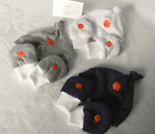 Handmade Clemson Tigers Newborn/Baby Knotted Hat & No-Scratch Mittens Set