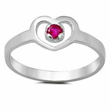 925 Sterling Silver Ring CZ Kids Heart Red Ruby Midi Ladies Size 1-5 New x48