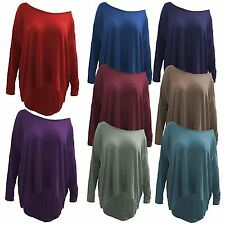 New Ladies Plus Size Stretchy Off Shoulder High Low Dip Hem Tops 8-26