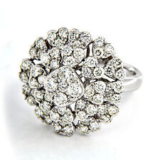 Women's White Gold On 925 Sterling Silver Round Cut White Diamond Cluster Ring