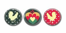 Country Roosters!!   Floral, Green and Hearts - 3 Magnet Set in Gift Tin