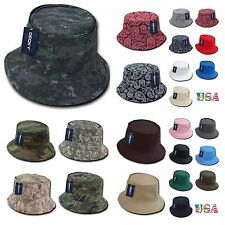 Mens Womens Bucket Cap Plain Hat Camo Paisley Hunting Fishing Military Army Caps